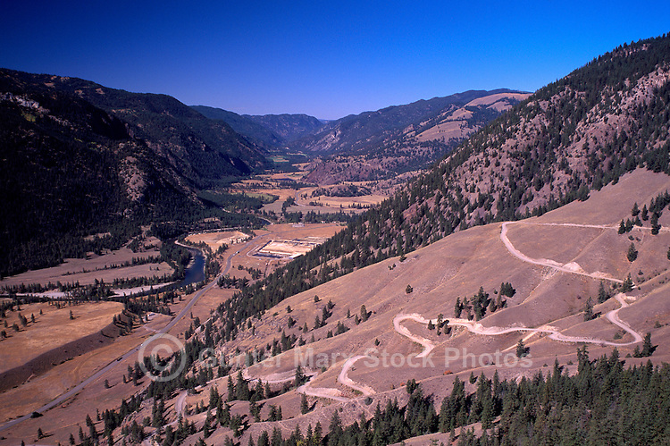 Aerial View of Similkameen River Valley and Cascade Mountains, near Hedley, BC, British Columbia, Canada