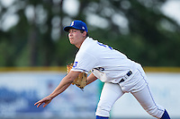 Burlington Royals starting pitcher Garrett Davila (19) follows through on his delivery against the Kingsport Mets at Burlington Athletic Stadium on July 18, 2016 in Burlington, North Carolina.  The Royals defeated the Mets 8-2.  (Brian Westerholt/Four Seam Images)