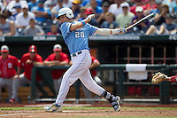 North Carolina outfielder Skye Bolt (20) follows through on his swing during Game 3 of the 2013 Men's College World Series against the North Carolina State Wolfpack at TD Ameritrade Park on June 16, 2013 in Omaha, Nebraska. The Wolfpack defeated the Tar Heels 8-1. (Andrew Woolley/Four Seam Images)