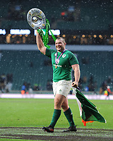 Jack McGrath of Ireland celebrates winning the Triple Crown and Grand Slam after the NatWest 6 Nations match between England and Ireland at Twickenham Stadium on Saturday 17th March 2018 (Photo by Rob Munro/Stewart Communications)
