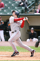 April 30th 2008:  Chad Spann (10) of the Pawtucket Red Sox, Class-AAA affiliate of the Boston Red Sox, at bat during a game at Frontier Field  in Rochester, NY.  Photo by Mike Janes/Four Seam Images