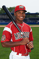 Batavia Muckdogs outfielder Stone Garrett (11) poses for a photo on July 8, 2015 at Dwyer Stadium in Batavia, New York.  (Mike Janes/Four Seam Images)