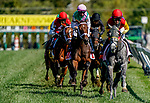 October 3, 2020:Juliet Foxtrot #1, ridden by jockey Florent Geroux, wins the Gallorette Stakes during Preakness Stakes Day at Pimlico Race Course in Baltimore, Maryland. John Voorhees/Eclipse Sportswire/CSM