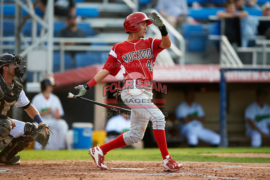Batavia Muckdogs shortstop Ildemaro Vargas #40 during game two of a NY-Penn League doubleheader against the Jamestown Jammers at Russell Diethrick Park on September 5, 2012 in Jamestown, New York.  Jamestown defeated Batavia 3-2.  (Mike Janes/Four Seam Images)