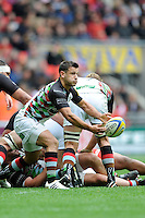 Danny Care of Harlequins passes during the Aviva Premiership match between Saracens and Harlequins at Wembley Stadium on Saturday 31st March 2012 (Photo by Rob Munro)