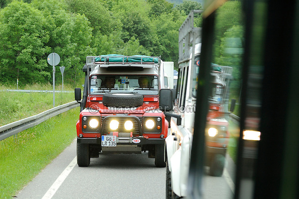 Germany, Land Rover Classic Club 2005. Emanuel Ebner flashing the headlights. --- No releases available. Automotive trademarks are the property of the trademark holder, authorization may be needed for some uses.