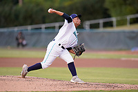 Pitcher Hugo Villalobos (48) of the Lynchburg Hillcats in a game against the Delmarva Shorebirds on Wednesday, August 11, 2021, at Bank of the James Stadium in Lynchburg, Virginia. (Tom Priddy/Four Seam Images)