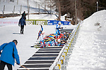 MARTELL-VAL MARTELLO, ITALY - FEBRUARY 03: Athletes at the shooting range during the Men 12.5 km Pursuit at the IBU Cup Biathlon 6 on February 03, 2013 in Martell-Val Martello, Italy. (Photo by Dirk Markgraf)