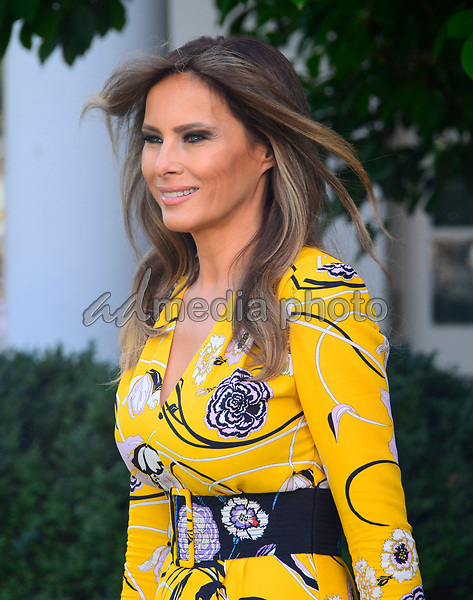 First lady Melania Trump arrives prior to United States President Donald J. Trump and Prime Minister Narendra Modi of India delivering joint statements in the Rose Garden of the White House in Washington, DC on Monday, June 26, 2017. Photo Credit: Ron Sachs/CNP/AdMedia