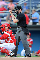 Umpire Dave Attridge during a game between the Batavia Muckdogs and Auburn Doubledays on July 3, 2013 at Dwyer Stadium in Batavia, New York.  Batavia defeated Auburn 12-2.  (Mike Janes/Four Seam Images)