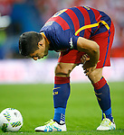 FC Barcelona's Luis Suarez injured during Spanish Kings Cup Final match. May 22,2016. (ALTERPHOTOS/Acero)