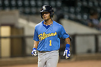 Gleyber Torres (1) of the Myrtle Beach Pelicans trots towards home plate after hitting a solo home run against the Winston-Salem Dash at BB&T Ballpark on September 9, 2015 in Winston-Salem, North Carolina.  The Dash defeated the Pelicans 4-2 to take a 1-0 lead in the best of 3 series. (Brian Westerholt/Four Seam Images)