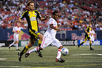 Dane Richards (19) of the New York Red Bulls is chased by Eddie Gaven (12) of the Columbus Crew. The New York Red Bulls defeated the Columbus Crew 1-0 during a Major League Soccer match at Giants Stadium in East Rutherford, NJ, on August 30, 2009.