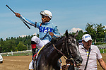 July 24, 2021: Maracuja #2, ridden by jockey Ricardo Santana Jr. wins the Coaching Club American Oaks (Grade 1) for three-year-old fillies at Saratoga Race Course in Saratoga Springs, N.Y. on July 24 2021. Rob Simmons/Eclipse Sportswire/CSM