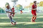 Mannheim, Germany, October 13: During the 1. Bundesliga men fieldhockey match between Mannheimer HC (white) and Grossflottbeker THGC (red) on October 13, 2019 at Am Neckarkanal in Mannheim, Germany. Final score 3-0 (HT 1-0). (Copyright Dirk Markgraf / 265-images.com) *** Felix Schuees #9 of Mannheimer HC