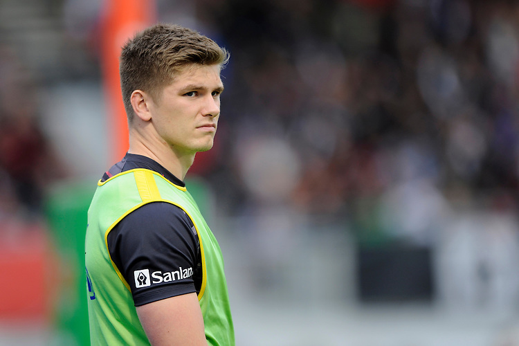 Owen Farrell of Saracens looks on during the European Rugby Champions Cup  Round 1 match between Saracens and ASM Clermont Auvergne at the Twickenham Stoop on Saturday 18th October 2014 (Photo by Rob Munro)