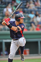 Designated hitter Carlos Castro (51) of the Rome Braves bats in a game against the Greenville Drive on Thursday, September 1, 2016, at Fluor Field at the West End in Greenville, South Carolina. Rome won, 3-2. (Tom Priddy/Four Seam Images)