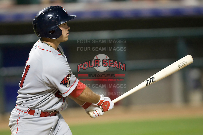 Firstbaseman Koby Clemens #21 of the Oklahoma City RedHawks at bat against the Round Rock Express on April 26, 2011 at the Dell Diamond in Round Rock, Texas. (Photo by Andrew Woolley / Four Seam Images)