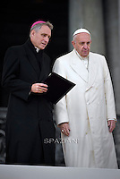 Pope Francis  Monsignor Georg Gänswein during his weekly general audience in St. Peter square at the Vatican, Wednesday.November 18, 2015.