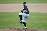 Appalachian State Mountaineers starting pitcher Ben Peterson (46) in action against the Charlotte 49ers at Atrium Health Ballpark on March 23, 2021 in Kannapolis, North Carolina. (Brian Westerholt/Four Seam Images)