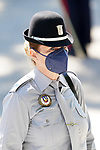 A member of the force, during the act on the occasion of the festival of 'San Juan Bautista', Patron of the Municipal Police of Madrid. June 24, 2021 (ALTERPHOTOS/Acero)