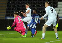 Pictured: Adam King of Swansea (2nd L) scores his first goal of his hat trick Tuesday 28 February 2017<br /> Re: Premier League International Cup, Swansea City U23 v Hertha Berlin II at at the Liberty Stadium, Swansea, UK