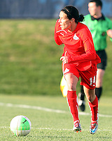 Sarah Huffman #14 of the Washington Freedom looks to make a pass against  the Philadelphia Independence during a WPS pre season match at the Maryland Soccerplex on March 27 2010 in Boyds, Maryland. The game ended in a 0-0 tie.