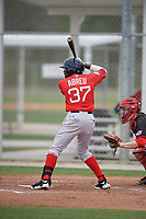 Boston Red Sox Juan Carlos Abreu (37) bats during a minor league Spring Training game against the Canada Junior National Team on March 31, 2017 at JetBlue Park in Fort Myers, Florida. (Mike Janes/Four Seam Images)