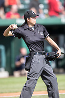 Minor League umpire Emma Charlesworth-Seiler throws the ball the pitcher during the Midwest League game between the Lake County Captains and the South Bend Cubs on May 30, 2019 at Four Winds Field in South Bend, Indiana. (Andrew Woolley/Four Seam Images)