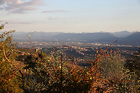A view from a trail in the regional park  of Canterno's lake, in which it is included the small town of Ferentino.<br /> <br /> You can download this file for (E&PU) only, but you can find in the collection the same one available instead for (Adv).