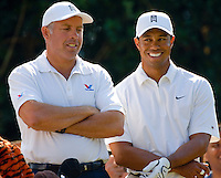 Tiger Woods and caddie Steve Williams during the 2007 Wachovia Championships at Quail Hollow Country Club in Charlotte, NC.