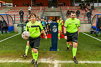 referee Sylvie Deckers , assistant referee Romain Delree pictured before a female soccer game between Standard Femina de Liege and Eendracht Aalst on the 12 th matchday of the 2020 - 2021 season of Belgian Scooore Womens Super League , saturday 30 th of January 2021 in Angleur , Belgium . PHOTO SPORTPIX.BE   SPP   STIJN AUDOOREN