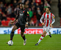 1st October 2021;  Bet365 Stadium, Stoke, Staffordshire, England; EFL Championship football, Stoke City versus West Bromwich Albion; Semi Ajayi of West Bromwich Albion is chased down by Mario Vrancic of Stoke City