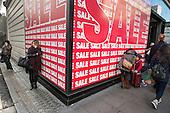 Spanish fashion chain Bershka store, January sales, Oxford Street London.