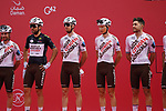 AG2R Citroen Team at sign on before the start of Stage 5 of the 2021 UAE Tour running 170km from Fujairah to Jebel Jais, Fujairah, UAE. 25th February 2021.  <br /> Picture: Eoin Clarke   Cyclefile<br /> <br /> All photos usage must carry mandatory copyright credit (© Cyclefile   Eoin Clarke)