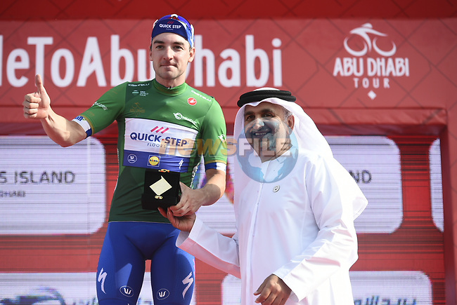 Elia Viviani (ITA) Quick-Step Floors wins Stage 2 and takes over the Green Points Jersey of the 2018 Abu Dhabi Tour, Yas Island Stage running 154km from Yas Mall to Yas Beach, Abu Dhabi, United Arab Emirates. 22nd February 2018.<br /> Picture: LaPresse/Fabio Ferrari   Cyclefile<br /> <br /> <br /> All photos usage must carry mandatory copyright credit (© Cyclefile   LaPresse/Fabio Ferrari)