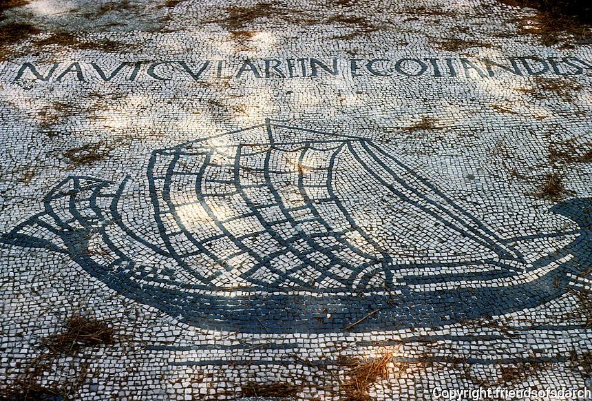 Italy: Ostia--Mosaic, Corporation floor: a Merchantman. Photo '83.
