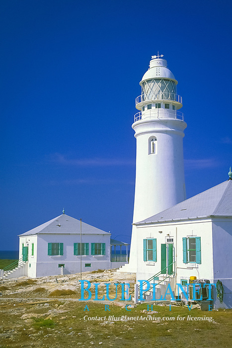 Dixon Hill Lighthouse, San Salvador Island, Bahamas, 1887 with keepers (still in residence) houses on either side