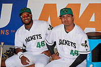 Augusta GreenJackets Mikey Edie (46) and Norwith Gudino (48) before a South Atlantic League game against the Lexington Legends on April 30, 2019 at SRP Park in Augusta, Georgia.  Augusta defeated Lexington 5-1.  (Mike Janes/Four Seam Images)