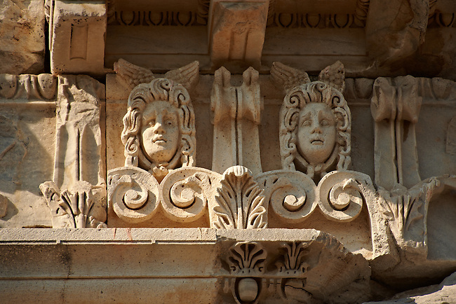 Detail from the  Greco - Roman Temple of Trajan, started by Trajan but after his death Emperor Hadrian (117-138) . A Corinthian order temple on a terrace with dimensions of 68 × 58 m (223.10 ft × 190.29 ft). Pergamon (Bergama) Archaeological Site, Turkey