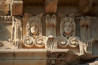 Detail from the  Greco - Roman Temple of Trajan, started by Trajan but after his death Emperor Hadrian (117-138) . A Corinthian order temple on a terrace with dimensions of 68×58m (223.10ft×190.29ft). Pergamon (Bergama) Archaeological Site, Turkey