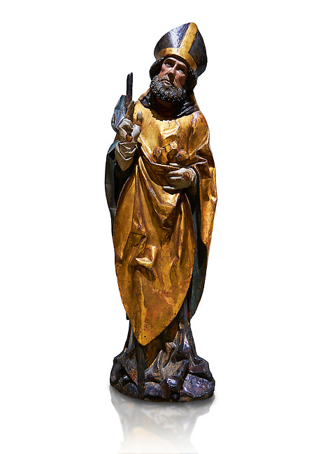 Gothic wooden statue of Sant Nicolau (Nicholas) from Gremany, circa 1500, tempera and gold leaf on wood, from the church of San Miguel de Medina del Campo, Valladolid..  National Museum of Catalan Art, Barcelona, Spain, inv no: MNAC  65507. Against a white background.