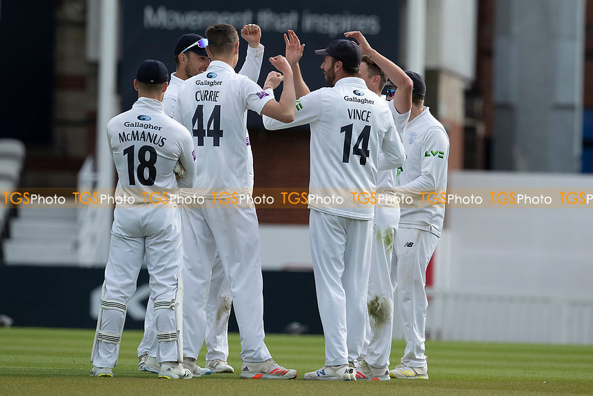 Hampshire celebrate the wicket of Ollie Pope during Surrey CCC vs Hampshire CCC, LV Insurance County Championship Group 2 Cricket at the Kia Oval on 30th April 2021