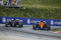 July 4th 2021; Red Bull Ring, Spielberg, Austria; F1 Grand Prix of Austria, race day;  04 NORRIS Lando (gbr), McLaren MCL35M  alongside overtaking 44 HAMILTON Lewis (gbr), Mercedes AMG F1 GP W12 E Performance