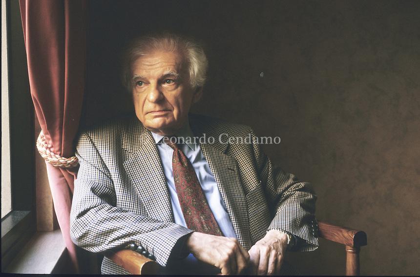 Turin, Italy, 2000. Ives Bonnefoy, French poet, translator and art critic.  Leonardo Cendamo
