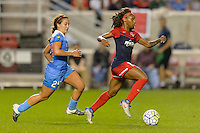 Chicago, IL - Saturday Sept. 24, 2016: Danielle Colaprico, Crystal Dunn during a regular season National Women's Soccer League (NWSL) match between the Chicago Red Stars and the Washington Spirit at Toyota Park.