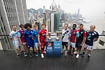 From Left to Right: Olympique Marseille's Lucas Genty, Aston Villa's Harry McKirdy, Leicester City's Hamza Dewan Choudhury, Glasgow Rangers' Max Ambrose, Bayer Leverkusen's Joel Abu Hanna, Causeway Bay's Andrew Wylde, West Ham United's Moses Makasi, Cagliari Calcio's Vasco Oliveira, and playonPROS's Colin Hendry pose for a photograph in front of Hong Kong's urban landscape to celebrate the launch of the HKFC Citi Soccer Sevens 2017 on 25 May 2017 in Causeway Bay, Hong Kong, China. Photo by Chris Wong / Power Sport Images