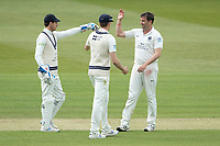 Tim Murtagh, Middlesex CCC is congratulated by John Simpson, Middlesex CCC following the wicket of Ryan Higgins, Gloucestershire CCC during Middlesex CCC vs Gloucestershire CCC, LV Insurance County Championship Group 2 Cricket at Lord's Cricket Ground on 7th May 2021
