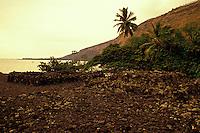 The stone walls of the Hikiau Heiau (sacred Native Hawaiian temple) on Kealakekua Bay on the Big Island of Hawaii.