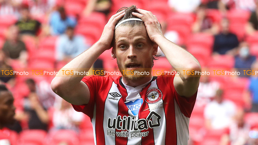 Mathias Jensen of Brentford in disbelief as the Bees win promotion to the Premier League next season during Brentford vs Swansea City, Sky Bet EFL Championship Play-Off Final Football at Wembley Stadium on 29th May 2021